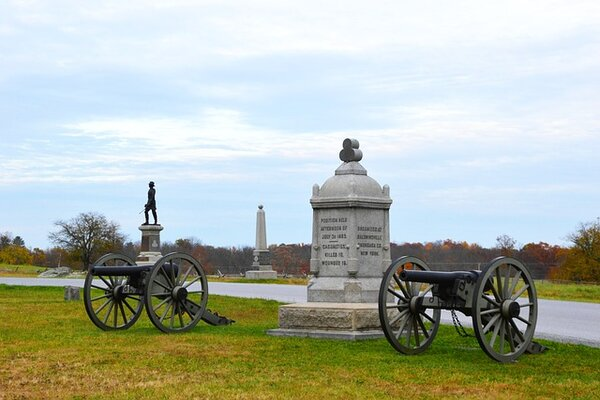 Old cannons and memorials in Gettysburg, one of the top places in Pennsylvania