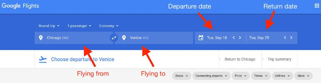 Enter your travel details;  How To Set Up Google Flight Alerts?
