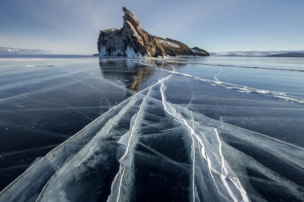 Frozen Lake Baikal; Beautiful Lakes