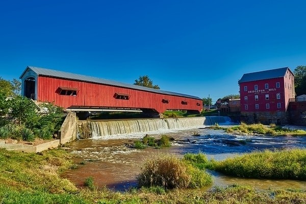 A wooden Covered Bridge in Indiana