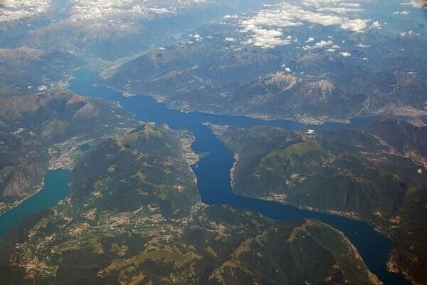 inverted 'y' shape of lake como aerial; Beautiful Lakes