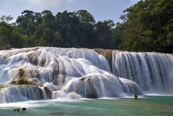 beautiful  Aqua Azul waterfall waterfall of Chiapas, Mexico, one of Attractive place of Mexico