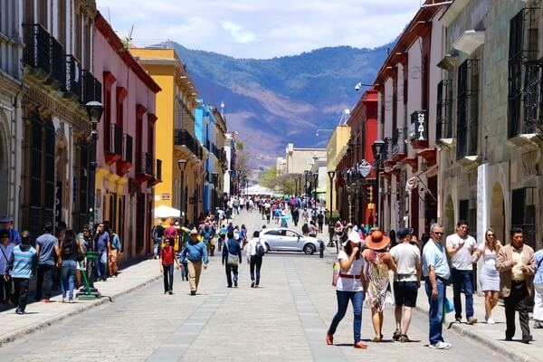 lane of  Oaxaca City full of local people and tourist, Popular city of Mexico