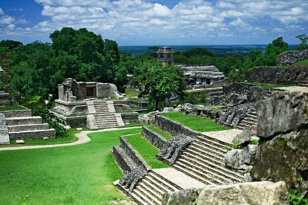 world famous Mesoamerican architecture of Mayan culture in Palenque