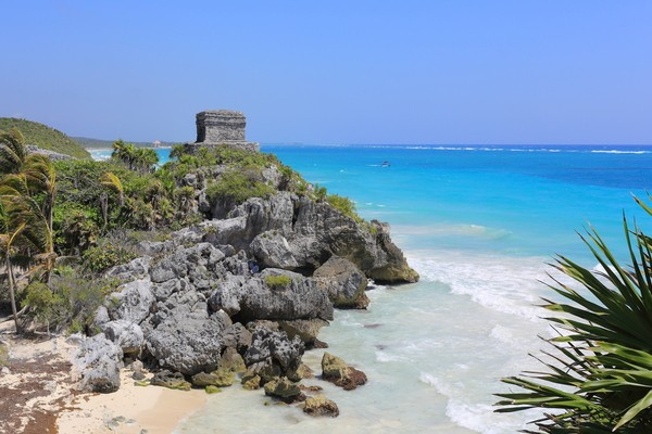 Tulum beach one of the famous beaches of  Riviera Maya ; places to visit in mexico