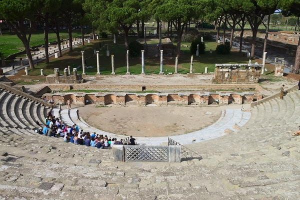 Ruins of famous Ostia Antica Amphitheatre, Italy; Day trips from Rome
