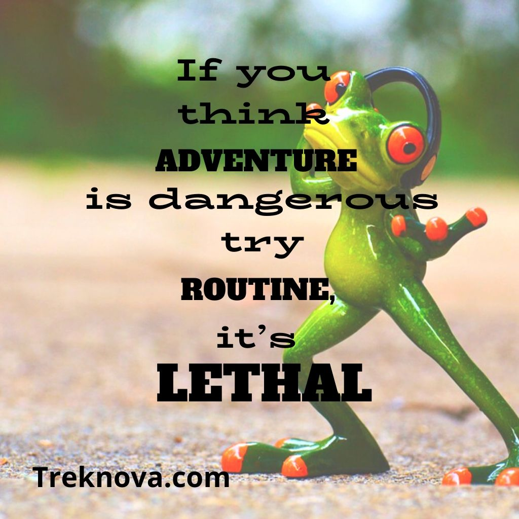 If you think adventure is dangerous try routine, it's lethal. , Funny Travel Quotes; funny vacation quotes