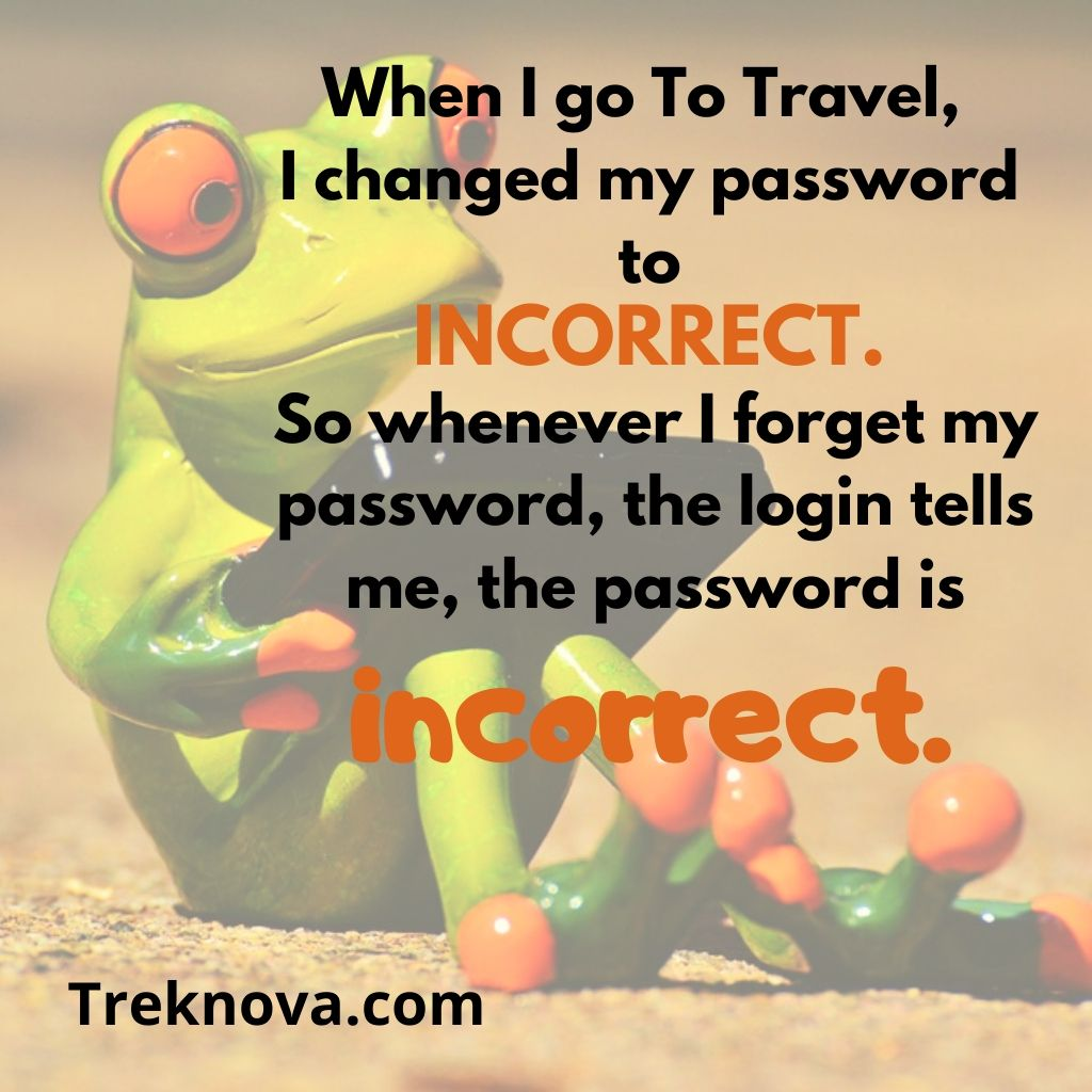 When I go To Travel, I changed my password to incorrect. So whenever I forget my password, the login tells me, the password is incorrect., Funny Travel Quotes, funny travel captions for instagram