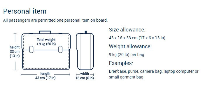 Personal Items, Porter Airlines Reservation