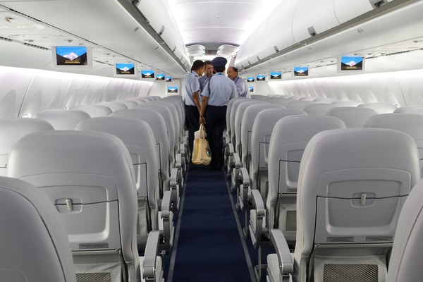 Screen at the top side of every seats of Interjet Airlines