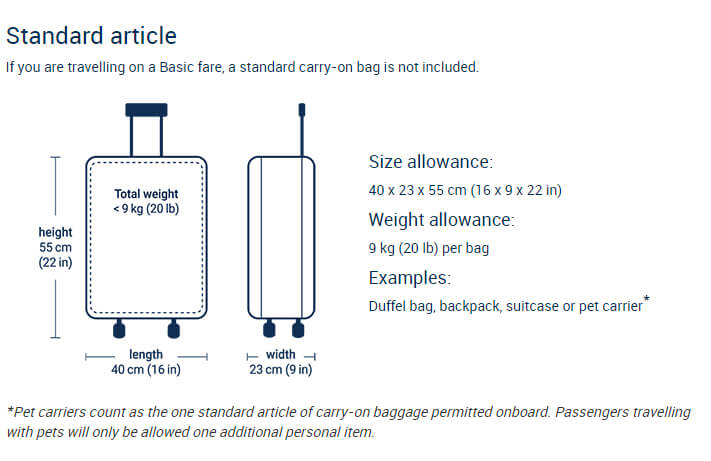 Standard Items, Porter Airlines Reservations