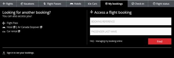 Air Canada My Booking, air canada manage booking