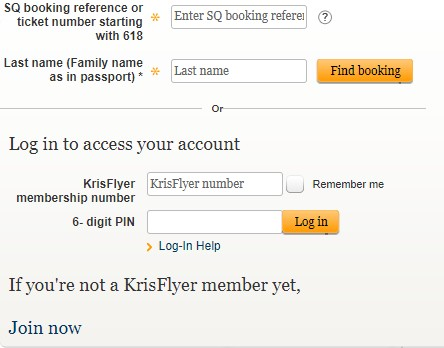 Singapore airlines SQ & KrisFlyer, Singapore airlines manage booking