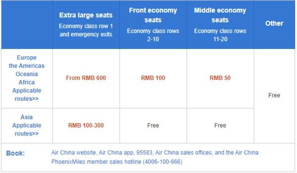 Air China seat selection, air china manage booking