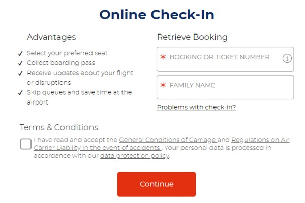 Brussels airlines online check-in