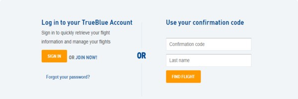 JetBlue airlines manage booking