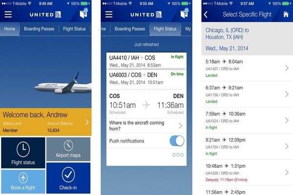 United airlines check-in mobile