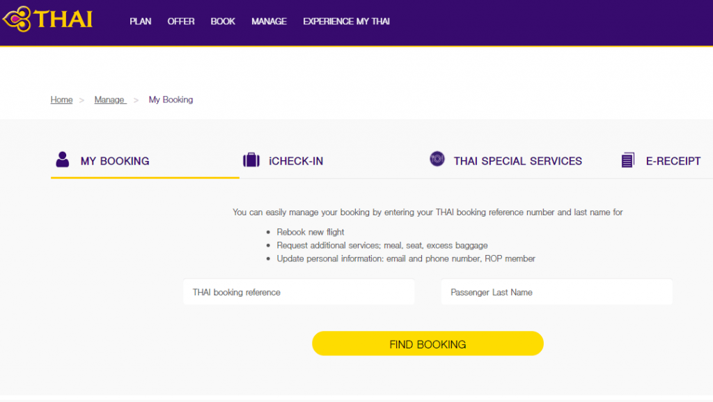 Thai Airways Manage Booking Seats, Flights & Reservations